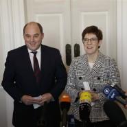 Gespräche vor dem Brexit: Der britische Verteidigungsminister Ben Wallace und die deutsche Verteidigungsministerin Annegret Kramp-Karrenbauer (CDU)