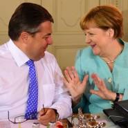 """Sigmar Gabriel und Angela Merkel in Meseberg: """"Ob das die letzte Klausurtagung ist, weiß ich noch nicht."""""""