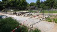 Verlust: Der abgebrannte Pavillon im Koreanischen Garten ist abgetragen, der zweite im Hintergrund wird saniert.