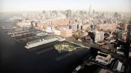 Etwas Grün zwischen viel Grau: Das Computerbild zeigt wie der Park einmal vor New York liegen soll