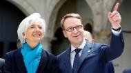 Bundesbankpräsident Jens Weidmann zusammen mit EZB-Chefin Christine Lagarde, die damals noch den IWF führte