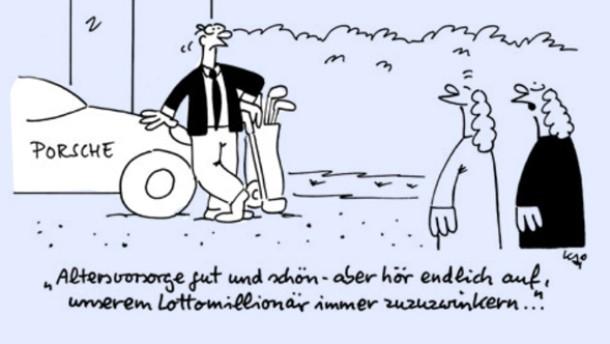 Karikatur/ Kai Looman Fianzmarkt / Altersvorsorge