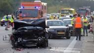 29 Autos waren an der Unfallserie beteiligt