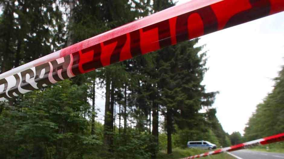 Das abgesperrte Waldstück, in dem die Polizei 2016 Knochen von Peggy fand.