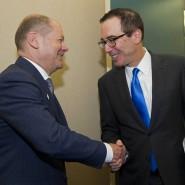 Bundesfinanzminister Olaf Scholz bei einem bilateralen Treffen mit seinem amerikanischen Kollegen Steve Mnuchin im April diesen Jahres in Washington