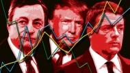 Drei Männer bewegen die Börse