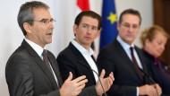 Ordnen die Staatskonzerne neu: Österreichs Finanzminister Hartwig Löger, Bundeskanzler Sebastian Kurz und Vizekanzler Heinz-Christian Strache