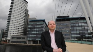 File photo of Thompson posing for media on visit to Media City in Salford