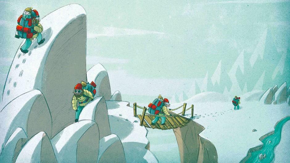 Auf dem Weg ins Reich des Schneekönigs: Davide Panizza hat Laylas Reise in die Welt der hohen Berge illustriert – Reinhold Messner erzählt sie.