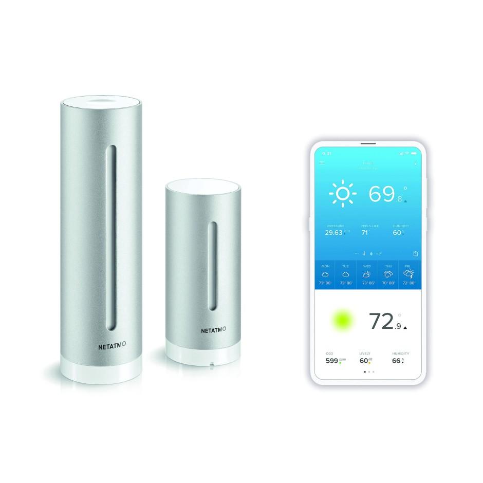 Fürs Heim: Der große Sensor links misst innen, der kleine mit Batterie draußen.