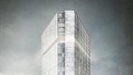 """Simulation des Projekts: Der Hotelturm hat zwei Betreiber, eine Fuge markiert den Wechsel. Dort soll es eine Bar geben, am Fuß einen """"Beach Club""""."""