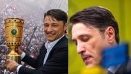 Vorher-Nachher-Vergleich: Kovač nach dem Pokalsieg in Frankfurt und nach der Bayern-Pleite in Dortmund.