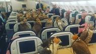 Abflug! Dieses Foto soll in einer Maschine von Qatar Airways entstanden sein.