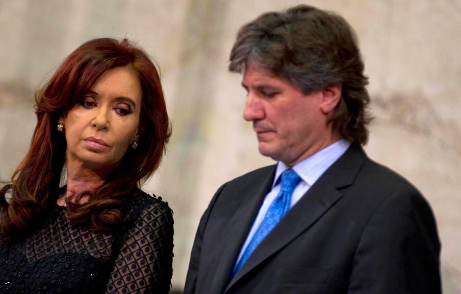Würde er sein Amt verlieren, wäre das für sie eine schwere Schlappe: Kirchner und ihr Stellvertreter  Amado Boudou, der unter Korruptionsverdacht steht