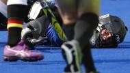 Gegen die Niederlage stemmen: Torhüterin Kristina Reynolds ist der starke Rückhalt der deutschen Hockey-Damen.
