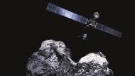"""Die Rosetta-Sonde der Esa umkreist den Kometen """"Tschuri""""."""