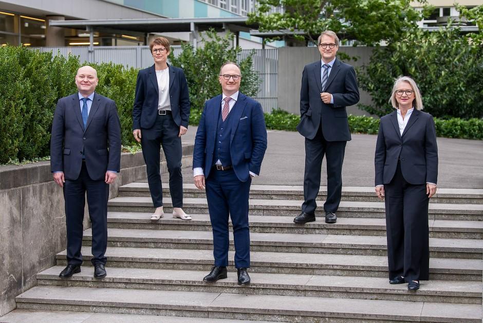 Die Mitglieder des Sachverständigenrats (von links): Achim Truger, Veronika Grimm, Lars Feld, Volker Wieland und Monika Schnitzer
