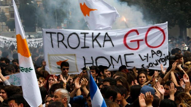 Students take part in anti-Troika protest in Nicosia