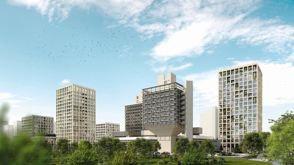 """Die Computerperspektive zeigt die Ansicht des geplanten """"Olivetti-Campus"""" von Westen, also aus Richtung der Autobahn 5."""