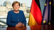 Bundeskanzlerin Merkel bei ihrer Fernsehansprache zum Coronavirus am 18.März.