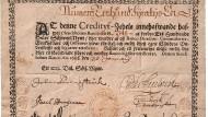 Ein schwedischer 100-Taler-Schein aus dem Jahr 1666