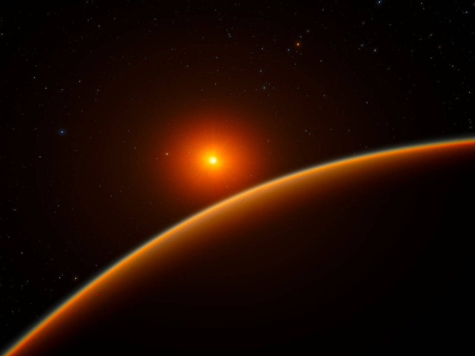 Künstlerische Darstellung des Exoplaneten LHS 1140b, der einen roten Zwergstern in genau dem richtigen Abstand für die Existenz flüssigen Wassers umkreist.