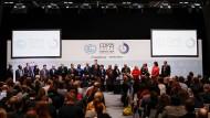 """Umweltminister und Unterhändler der """"High Ambition Coalition"""" bei der Pressekonferenz beim Klimagipfel in Madrid"""