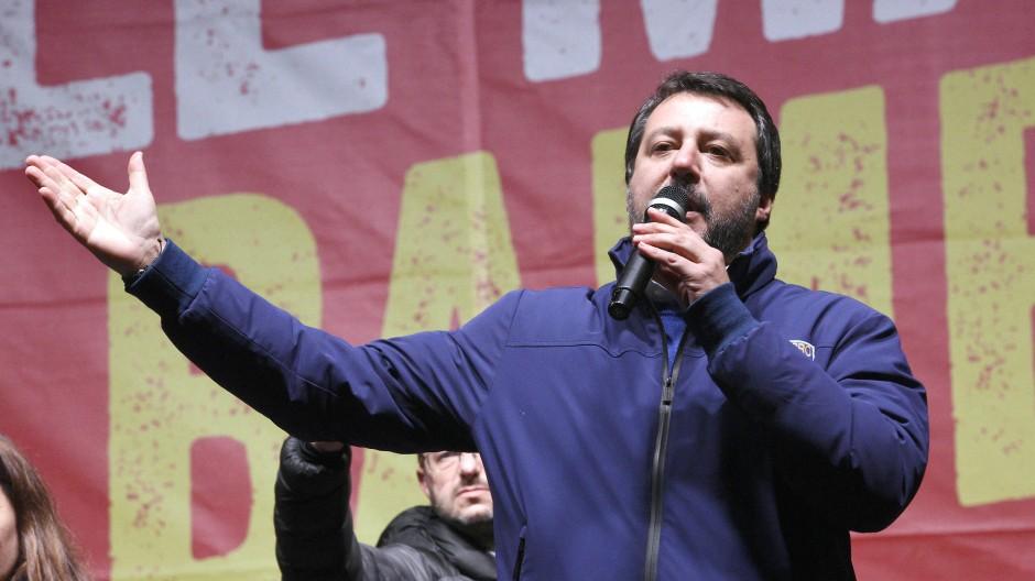 Matteo Salvini am vergangenen Donnerstag in Bibbiano in der Emilia-Romagna