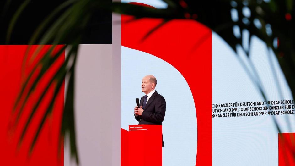 SPD-Kanzlerkandidat Olaf Scholz am Sonntag auf dem Parteitag der SPD in Berlin