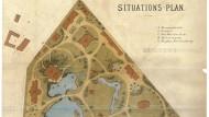 Lageplan des Frankfurter Zoos aus dem Jahr 1874