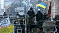 Proeuropäisch: Demonstranten auf Barrikaden in Kiew