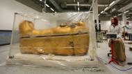 Vor der Restauration wird der Sarkophag des ägyptischen Pharaos Tutanchamun im Großen Ägyptischen Museum zunächst luftdicht isoliert.