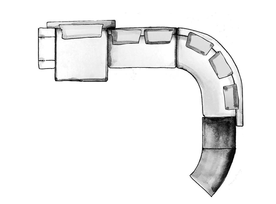 Klare Linien und Formen: Sofa Daniels (Minotti) als Zeichnung