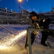 Ein Arbeiter eines Joint-Ventures zwischen Gazprom und BASF in Sibirien. Die Unternehmen haben weitere gemeinsame Projekte nun gestoppt.