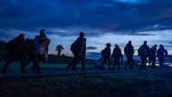 Flüchtlinge im Oktober 2015 an der deutsch-österreichischen Grenze.
