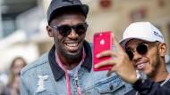 Lewis Hamilton und Leichtathletik-Star Usain Bolt