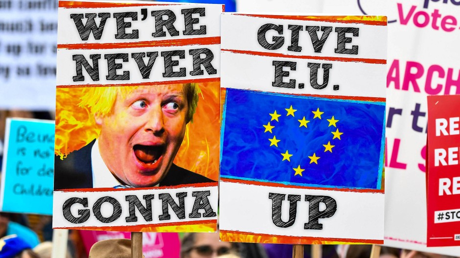 Wer gibt wen auf? Demonstranten in London protestieren gegen das von Boris Johnson ausgehandelte Brexit-Abkommen.