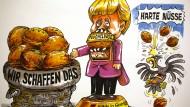 """Merkels Credo """"Wir schaffen das"""" darf nicht fehlen beim diesjährigen Rosenmontagsumzug. Auf diesem Entwurf hat Merkel sich an einer besonders harten Nuss, den Flüchtlingen, schon zwei Zähne ausgebissen."""