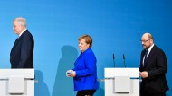 Horst Seehofer, Angela Merkel und Martin Schulz am Freitag in Berlin