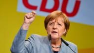 Bundeskanzlerin Angela Merkel bei einer Wahlkampfveranstaltung in Neustadt an der Weinstraße am Donnerstag