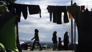 Flüchtlinge in einem Lager im Norden Griechenlands