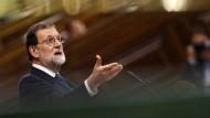 Spaniens Ministerpräsident Mariano Rajoy am 11. Oktober bei einer Rede im Parlament