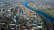 Frankfurt (Oder) aus der Vogelperspektive – in Brandenburg sind die Grundsteuern eher niedrig.