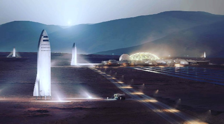 """Simulation einer """"Mars City"""": """"Das ist eine zu extreme Form des Futurismus für sehr wenige sehr reiche Leute. Musk kann nicht neun Milliarden Menschen auf den Mars fliegen"""", sagt Bruno Latour."""
