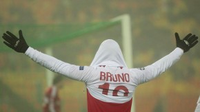 Lille's Bruno celebrates scoring against BATE Borisov during their Champions League Group F soccer match at the Dinamo stadium in Minsk
