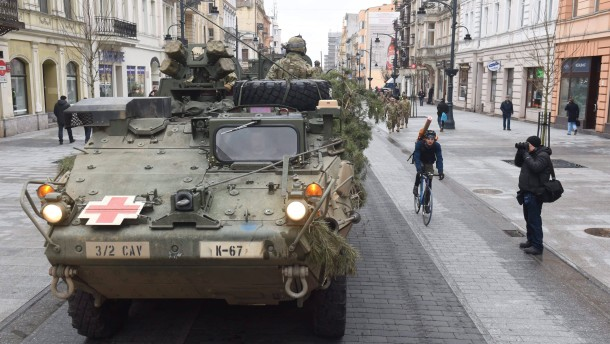USA military convoy in Lodz, to demonstrate presence in the Easte