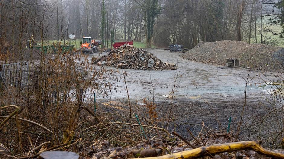 Steine des Anstoßes: der Lagerplatz in Königstein