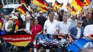 Auf der Straße: Die AfD-Promis Gauland, von Storch und Meuthen führen den Zug der Demonstranten durch Berlin an.