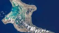 Für Kiribati wird das Land immer mehr zur Fluchtursache (Luftaufnahme von der Pazifikinsel).