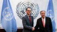 Bundesaußenminister Heiko Maas (SPD) bei dem Empfang bei den Vereinten Nationen durch den Generalsekretär Antonio Guterres.